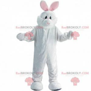 Hvid og lyserød kanin maskot, plys bunny kostume -