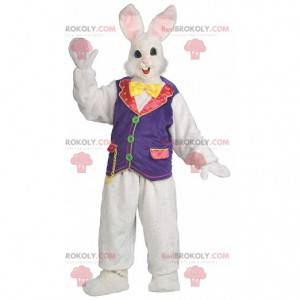 Kanin maskot med en farverig vest, stort kanin kostume -