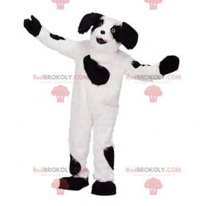 White and black dog mascot, plush doggie costume -