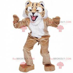 Mascote de lince bege e branco, fantasia de felino gigante -