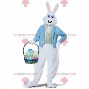 Maskot bílého králíka s modrou vestou a motýlkem -