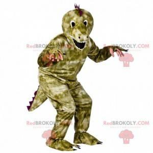 Mascote de dinossauro verde, gigante, fantasia de dinossauro