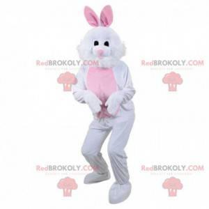 Mascote coelho branco e rosa, fantasia de coelho de pelúcia -