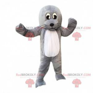 Mascot león marino, león marino gris gigante, disfraz de león