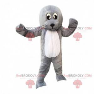 Mascot zeeleeuw, gigantische grijze zeeleeuw, zeeleeuw kostuum