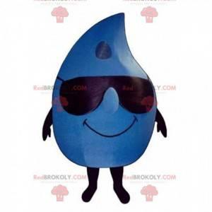 Reusachtige blauwe druppel mascotte met zonnebril -