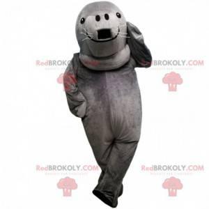 Graues Robbenmaskottchen, riesiges Seelöwenkostüm -