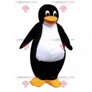 Mascote pinguim gigante preto e branco, fantasia de bloco de