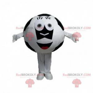 Mascote da bola de futebol branca e preta, fantasia de futebol