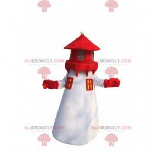 Farol de mascote branco e vermelho, traje de cidade portuária -