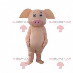 Volledig aanpasbare roze varken mascotte, gigantisch varken -