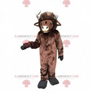 Gigante mascotte bisonte marrone, costume da bufalo -