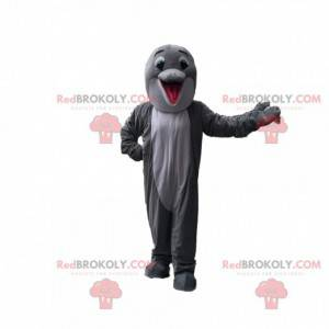 Gray and white dolphin mascot, cute dolphin costume -