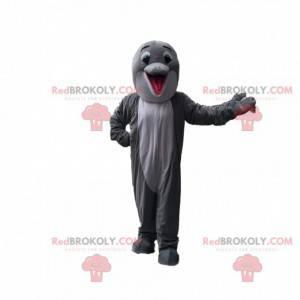 Mascote de golfinho cinza e branco, fantasia de golfinho fofa -