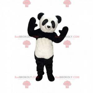 Maskot černé a bílé pandy, realistický kostým medvěda -