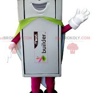 Mascote da chave USB branca com roupa de super-herói -