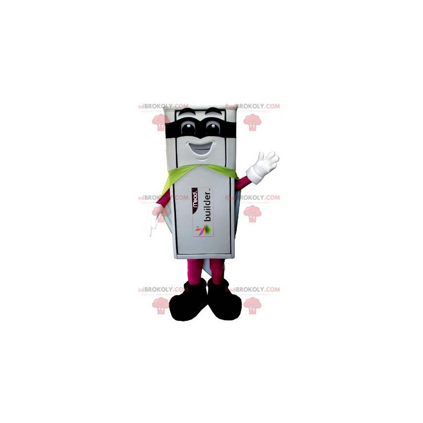 Weißes USB-Stick-Maskottchen im Superhelden-Outfit -