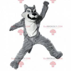 Mascotte grijze en witte wolf, kostuum van slechte harige wolf