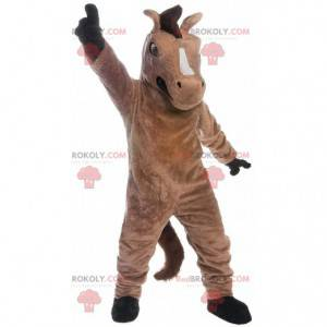 Mascote de cavalo marrom, traje realista de mustang gigante -