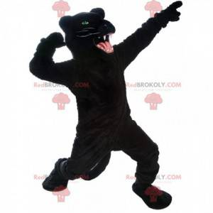 Giant and very realistic black panther mascot, ferocious animal