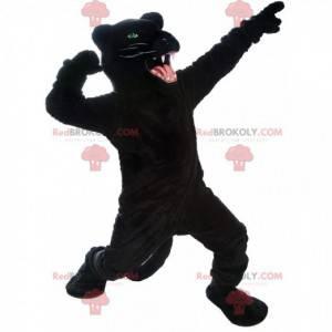 Kæmpe og meget realistisk sort panter maskot, vildtlevende dyr