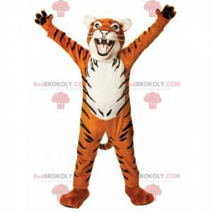 Oranje, witte en zwarte tijger mascotte ziet er woest uit -