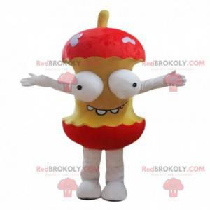 Mascotte di torsolo di mela gigante con gli occhi sporgenti -