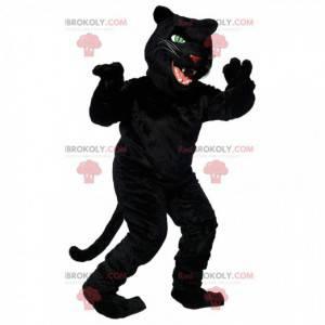 Mascotte zwarte panter met grote hoektanden, katachtig kostuum