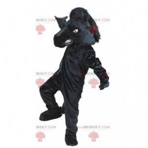 Mascote gigante de cavalo preto, traje de centro equestre -