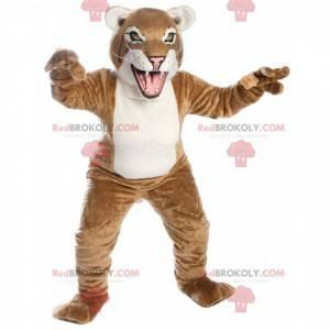 Maskottchen beige und weißer Luchs, riesiges Katzenkostüm -
