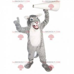 Mascote tigre cinza e branco, fantasia de fera gigante -