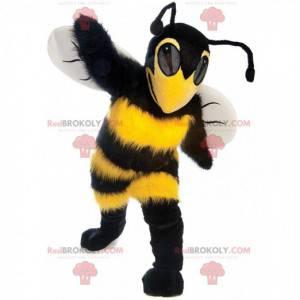 Mascotte geel en zwart bij, intimiderend wesp kostuum -