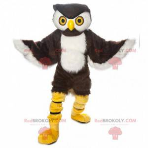 Hnědá a bílá sova maskot, noční pták kostým - Redbrokoly.com