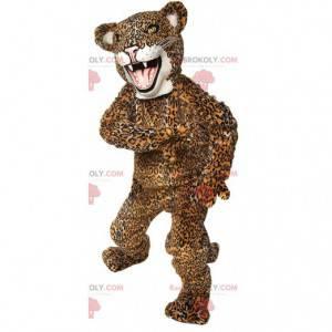 Yellow and black jaguar mascot, giant beast costume -