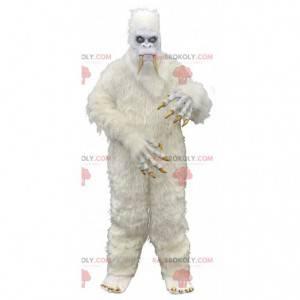 Kæmpe og skræmmende hvid yeti maskot, monster kostume -
