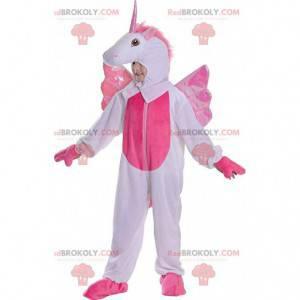 Witte en roze eenhoorn mascotte, kostuum voor kinderen 128 cm -