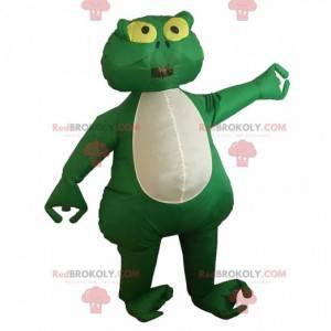 Groene en witte kikker mascotte, opblaasbaar kostuum -
