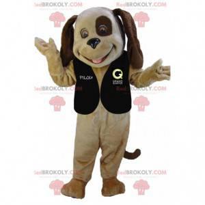Bardzo uśmiechnięta maskotka dwukolorowego brązowego psa -