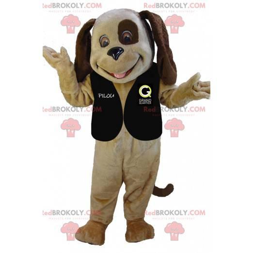Velmi usměvavý dvoubarevný hnědý psí maskot - Redbrokoly.com