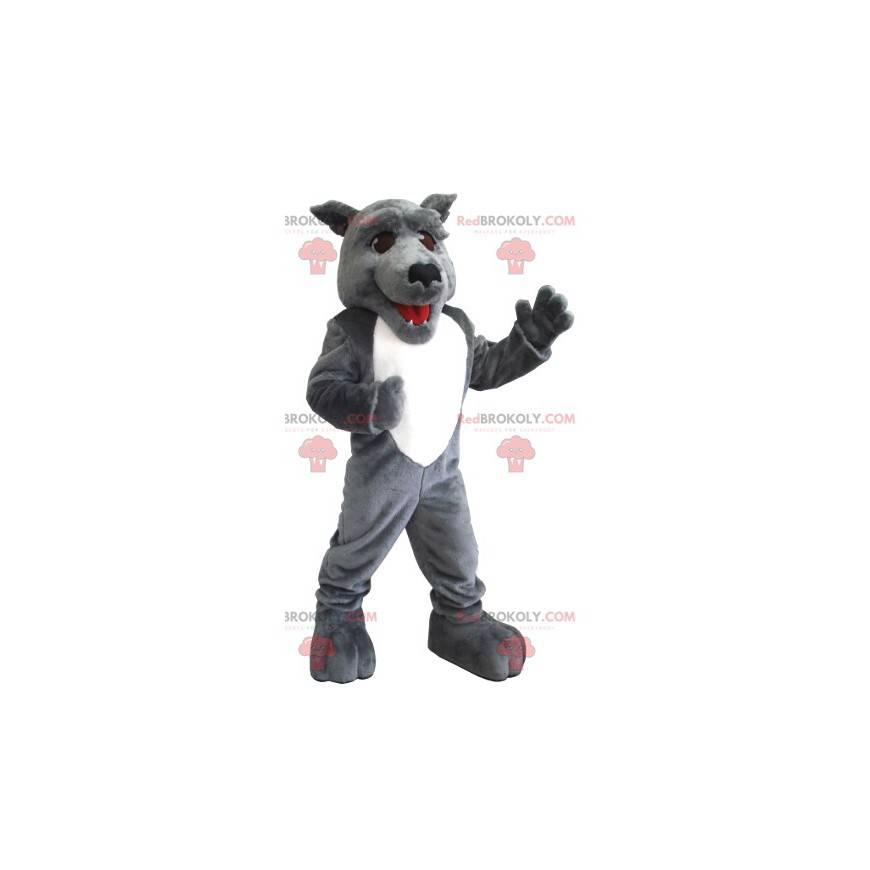 Graues und weißes Wolfsmaskottchen - Redbrokoly.com
