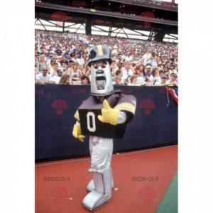 Metallic gray robot mascot in baseball outfit - Redbrokoly.com
