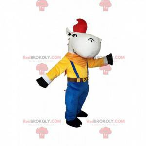 White horse mascot in colorful outfit and a red wick -