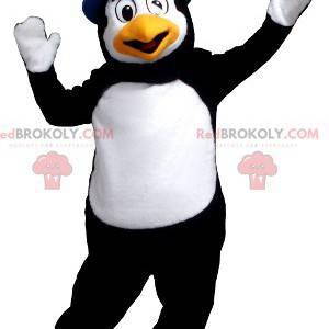 Mascota de pingüino blanco y negro con sombrero - Redbrokoly.com