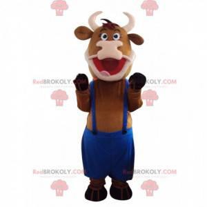 Mascote vaca marrom com macacão azul - Redbrokoly.com