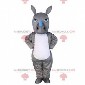 Grå og hvid næsehorn maskot, kostume til vildt dyr -