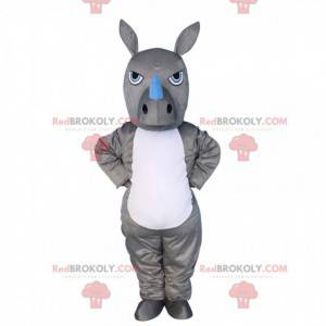 Mascote de rinoceronte cinza e branco, fantasia de animal