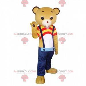 Žlutý medvídek maskot s džíny a barevné oblečení -