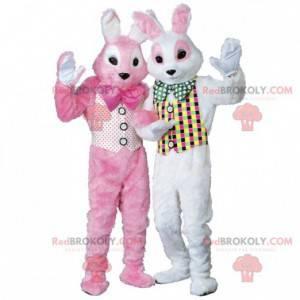 2 mascots of pink and white rabbits - Redbrokoly.com