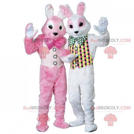 2 maskoti růžových a bílých králíků - Redbrokoly.com