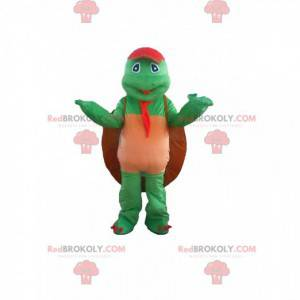 Mascotte tartaruga verde con una grande conchiglia -